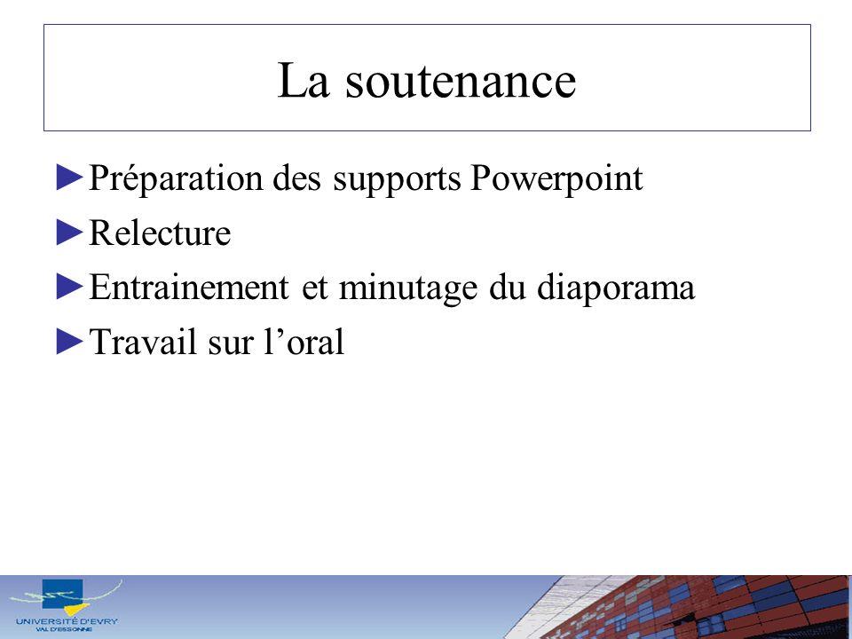 La soutenance Préparation des supports Powerpoint Relecture
