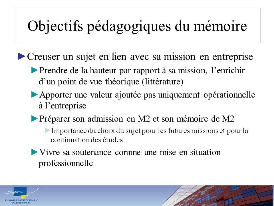 Objectifs pédagogiques du mémoire