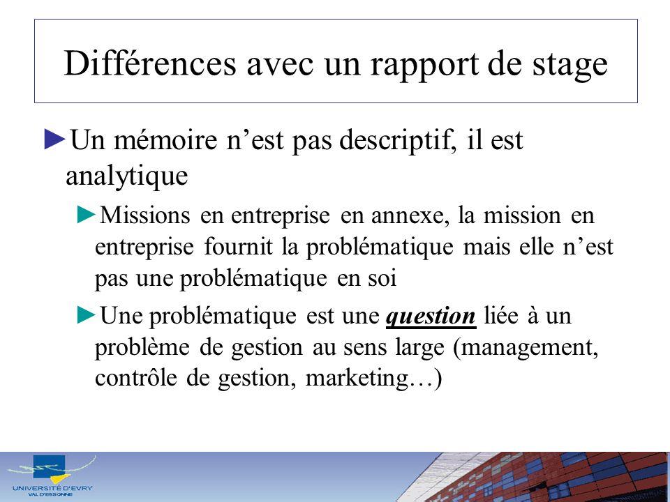 Différences avec un rapport de stage