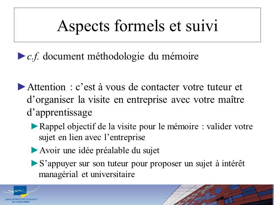 Aspects formels et suivi