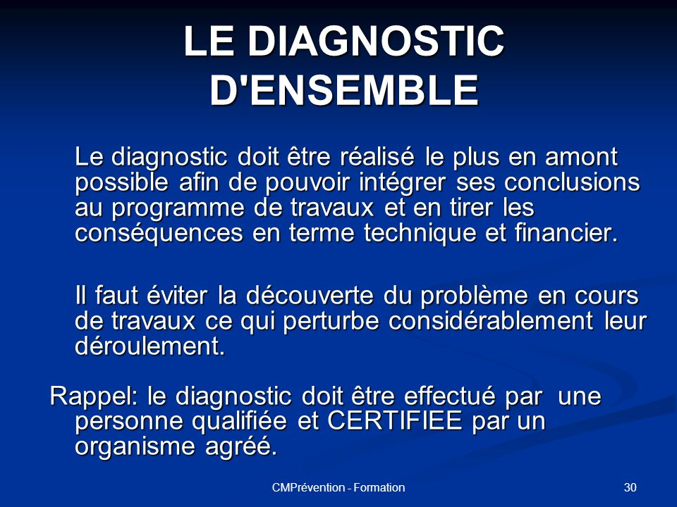LE DIAGNOSTIC D ENSEMBLE