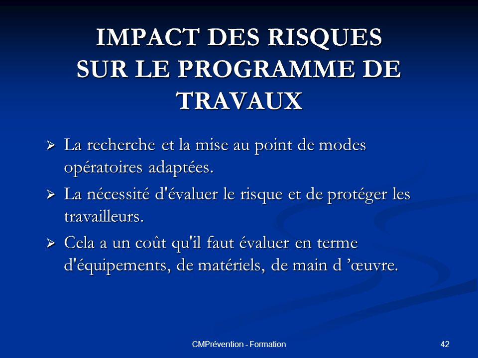 IMPACT DES RISQUES SUR LE PROGRAMME DE TRAVAUX