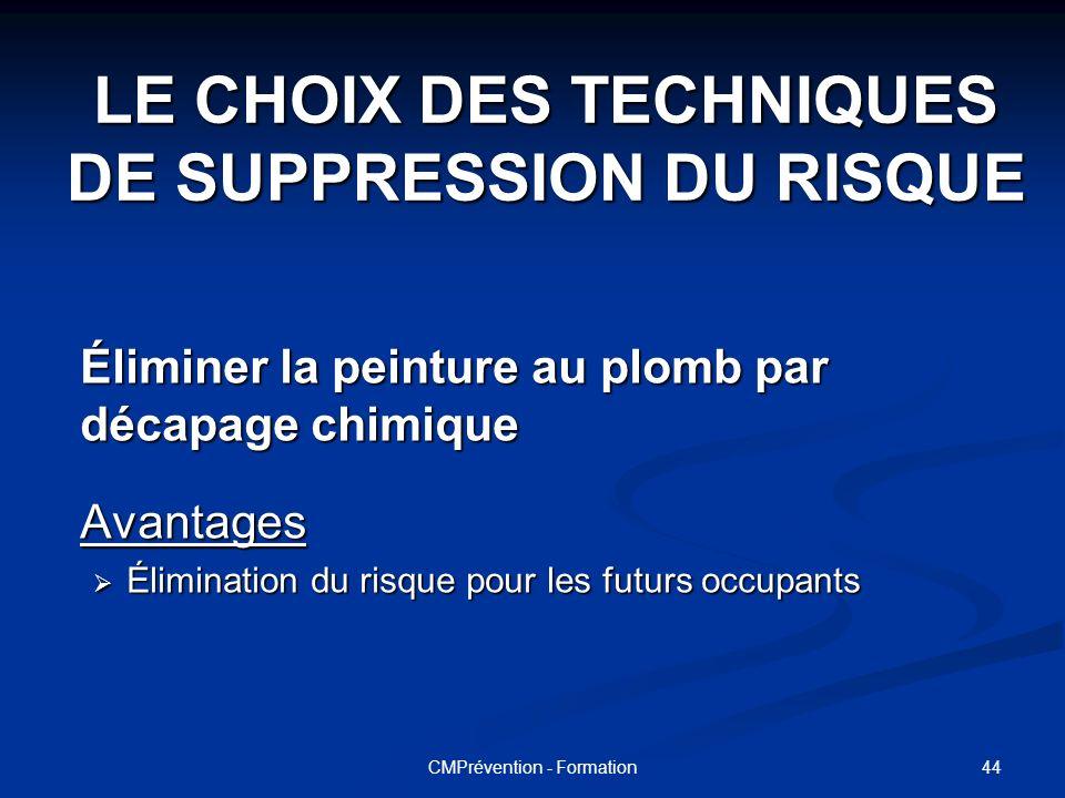LE CHOIX DES TECHNIQUES DE SUPPRESSION DU RISQUE