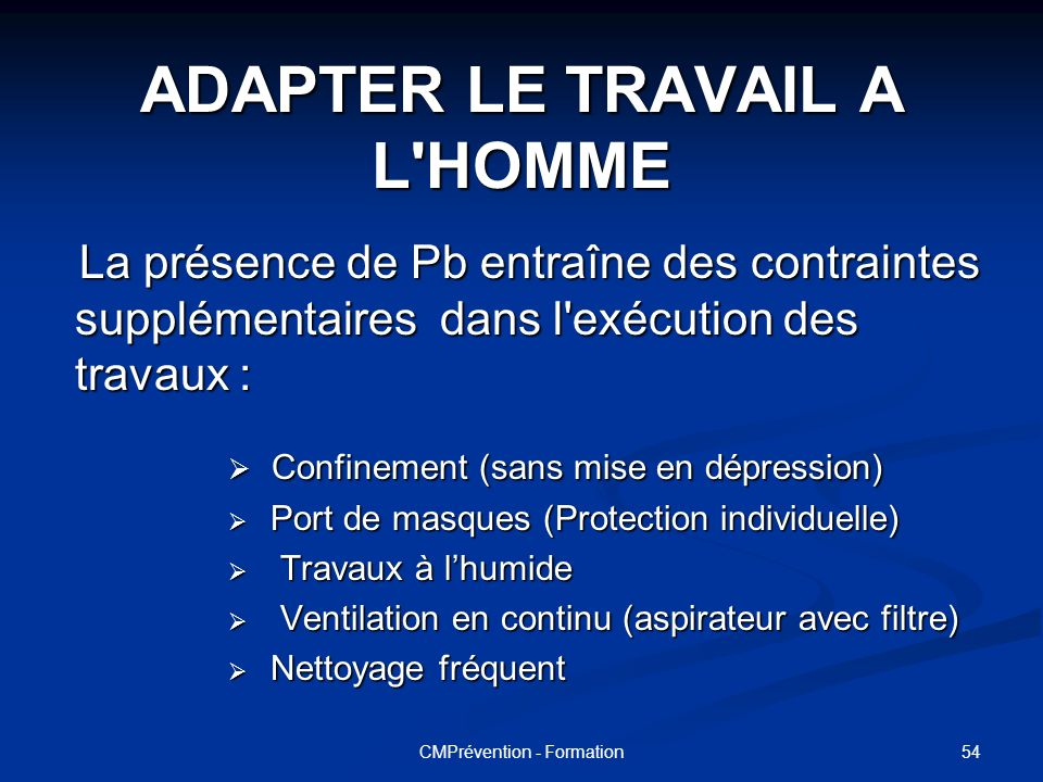 ADAPTER LE TRAVAIL A L HOMME