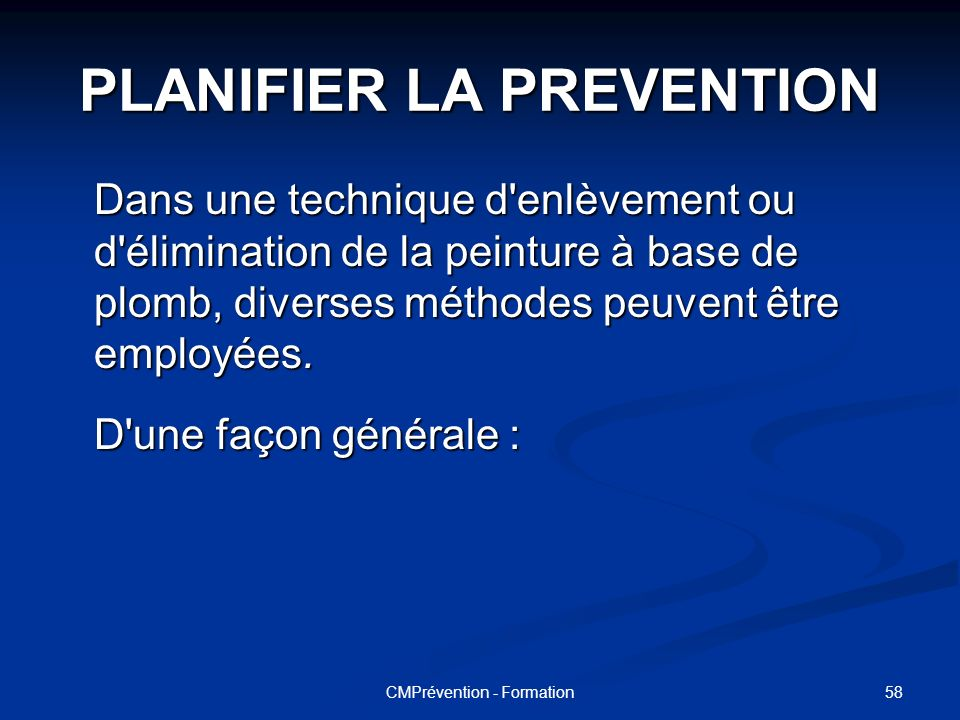 PLANIFIER LA PREVENTION