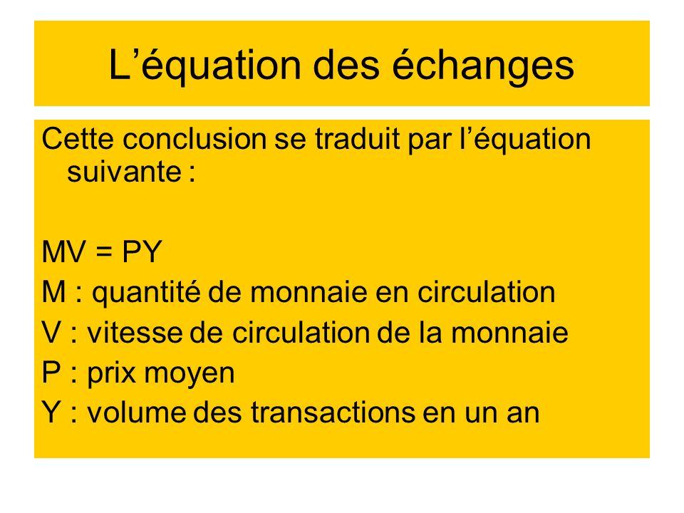 L'équation des échanges