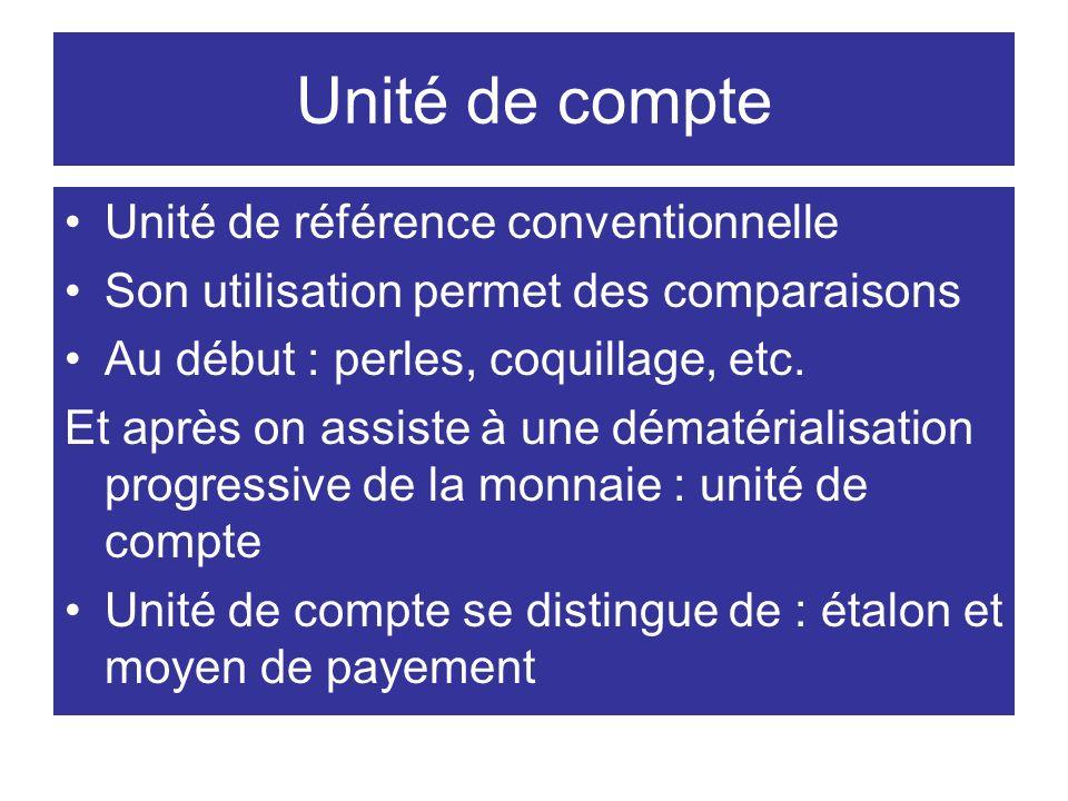 Unité de compte Unité de référence conventionnelle