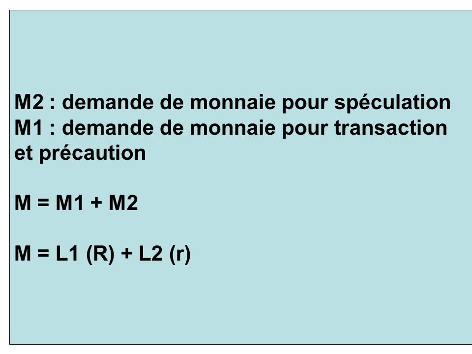M2 : demande de monnaie pour spéculation