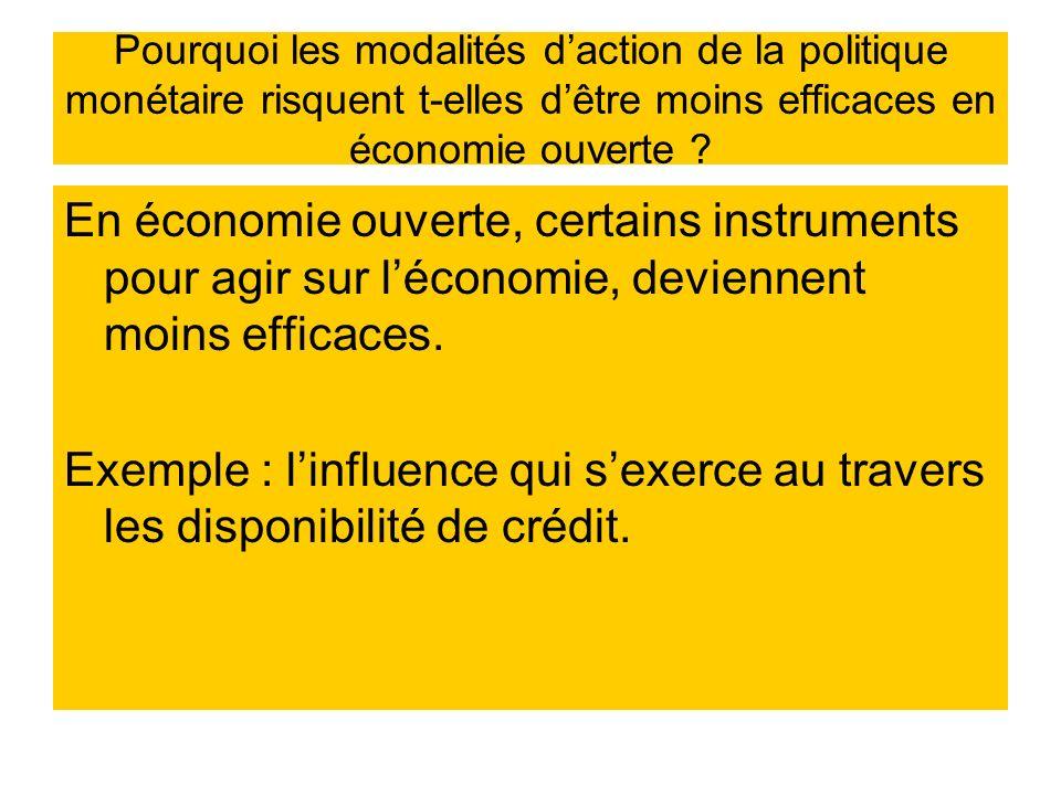 Pourquoi les modalités d'action de la politique monétaire risquent t-elles d'être moins efficaces en économie ouverte