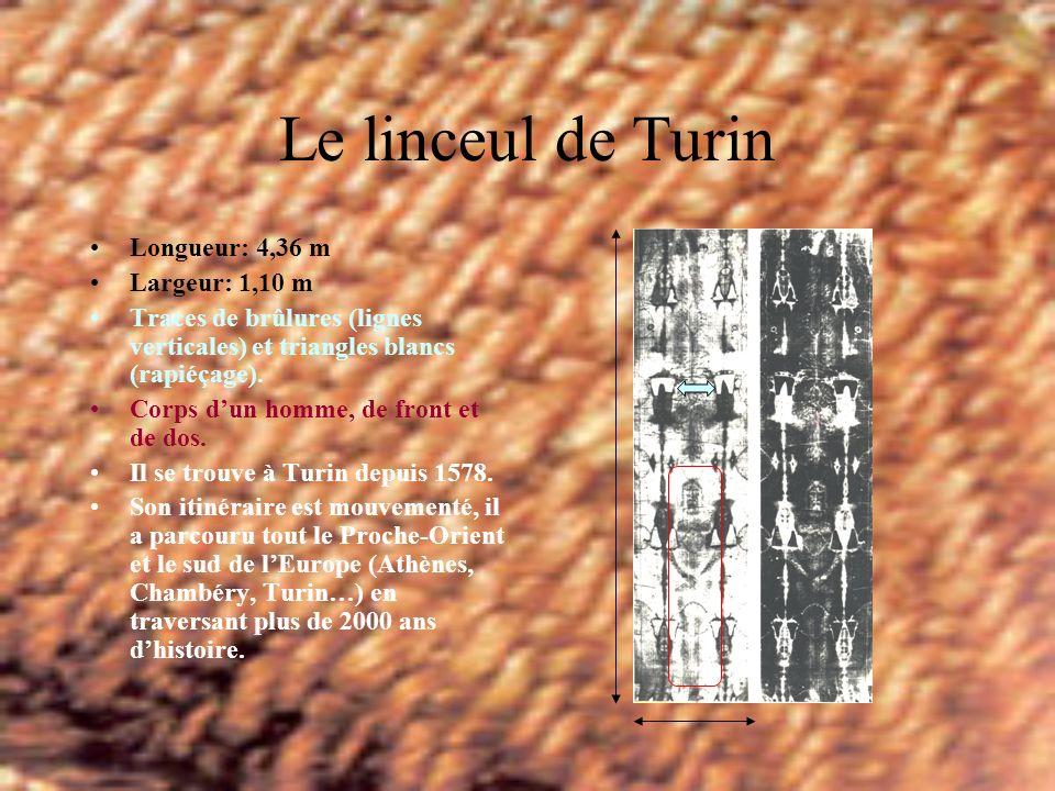 Le linceul de Turin Longueur: 4,36 m Largeur: 1,10 m