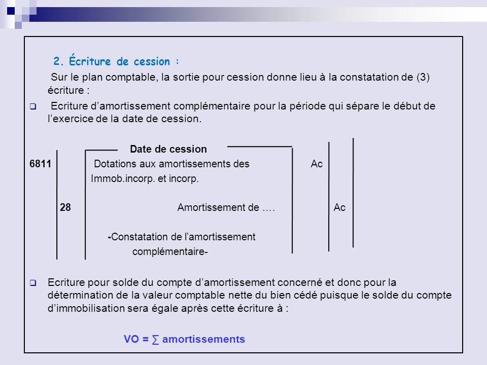 2. Écriture de cession : Sur le plan comptable, la sortie pour cession donne lieu à la constatation de (3) écriture :