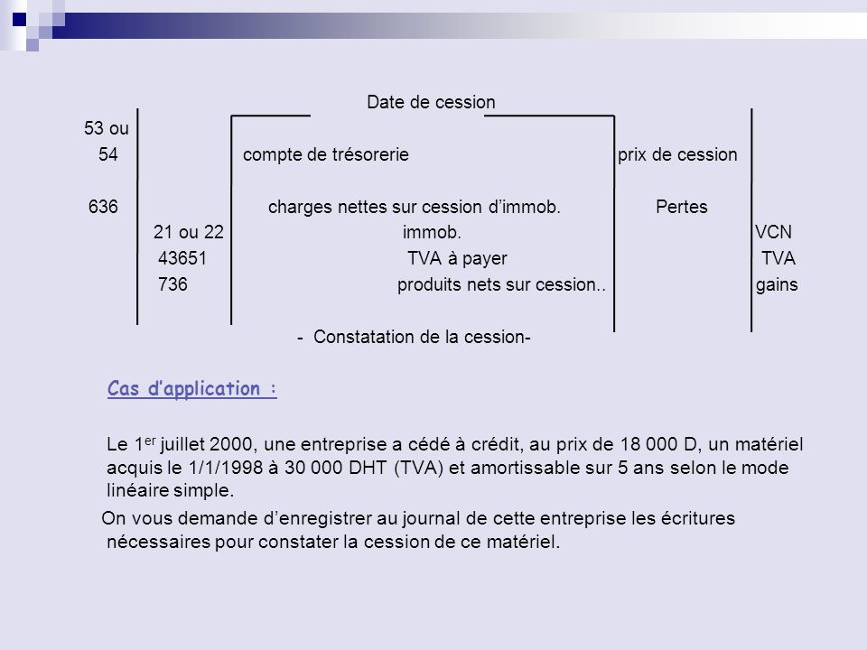 Date de cession 53 ou. 54 compte de trésorerie prix de cession.