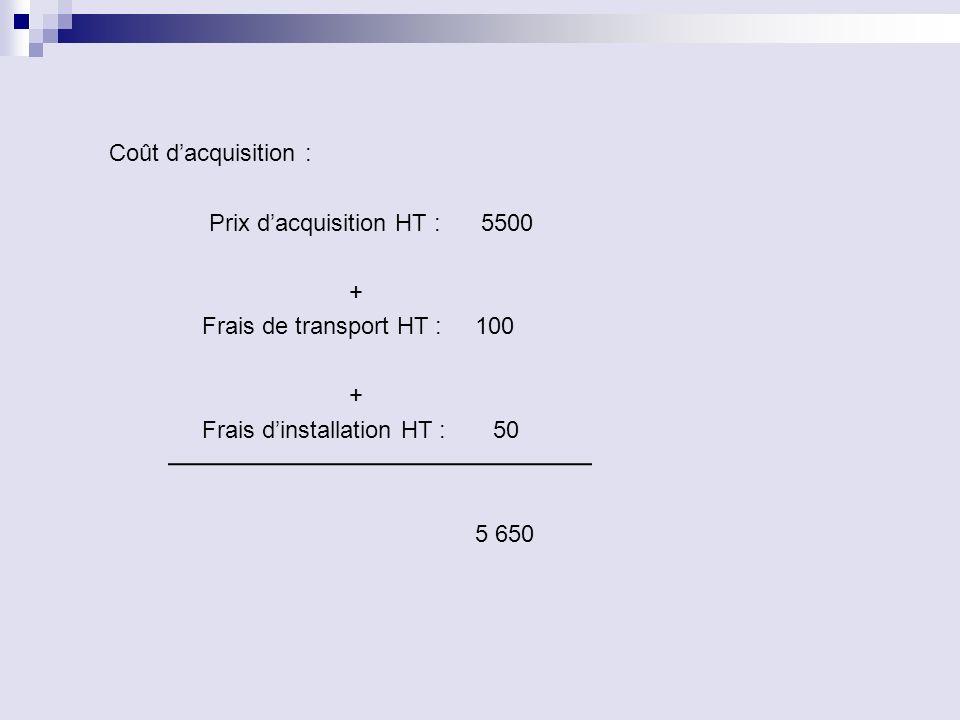 Coût d'acquisition : Prix d'acquisition HT : 5500 + Frais de transport HT : 100 Frais d'installation HT : 50 5 650
