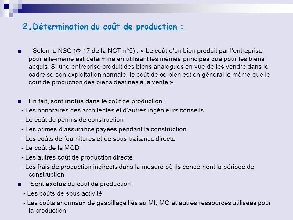 2.Détermination du coût de production :