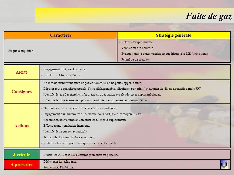 Fuite de gaz Caractères Stratégie générale Alerte Consignes Actions