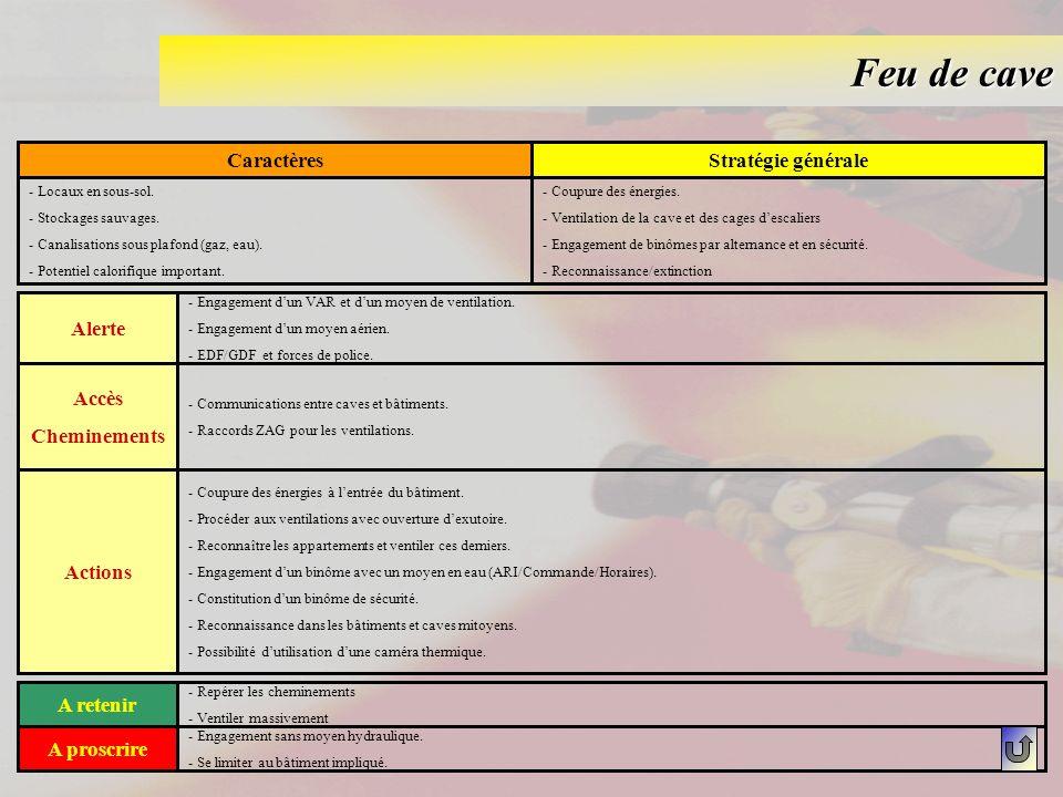 Feu de cave Caractères Stratégie générale Alerte Accès Cheminements