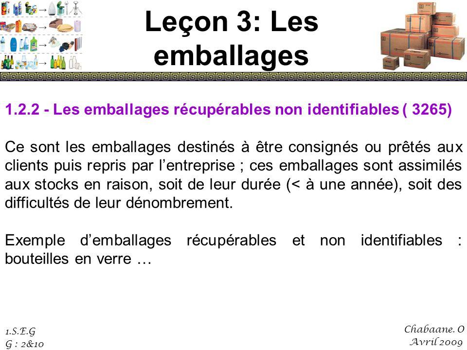Leçon 3: Les emballages 1.2.2 - Les emballages récupérables non identifiables ( 3265)