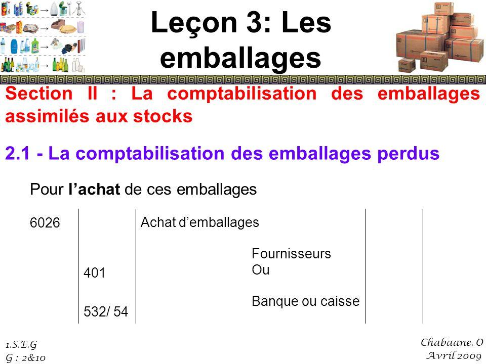 Leçon 3: Les emballages Section II : La comptabilisation des emballages assimilés aux stocks. 2.1 - La comptabilisation des emballages perdus.