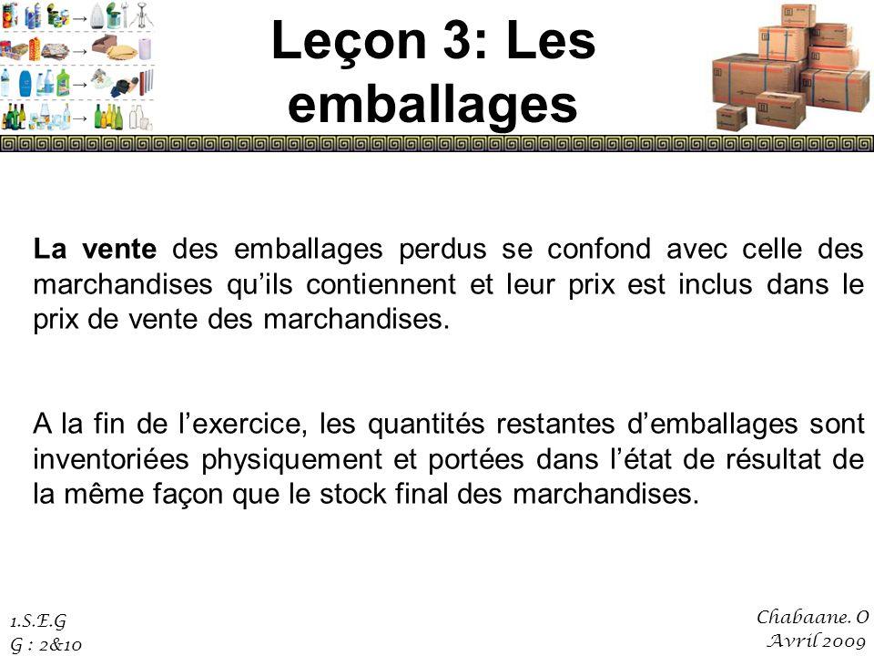 Leçon 3: Les emballages