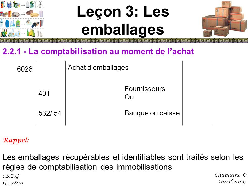 Leçon 3: Les emballages 2.2.1 - La comptabilisation au moment de l'achat. 401. 532/ 54. Achat d'emballages