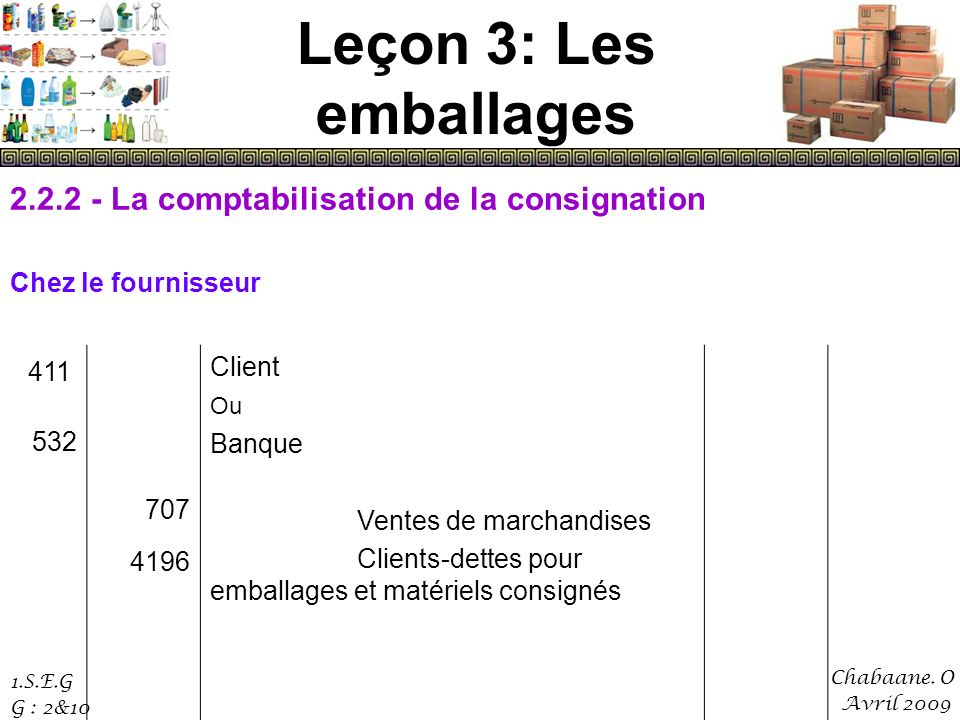 Leçon 3: Les emballages 2.2.2 - La comptabilisation de la consignation