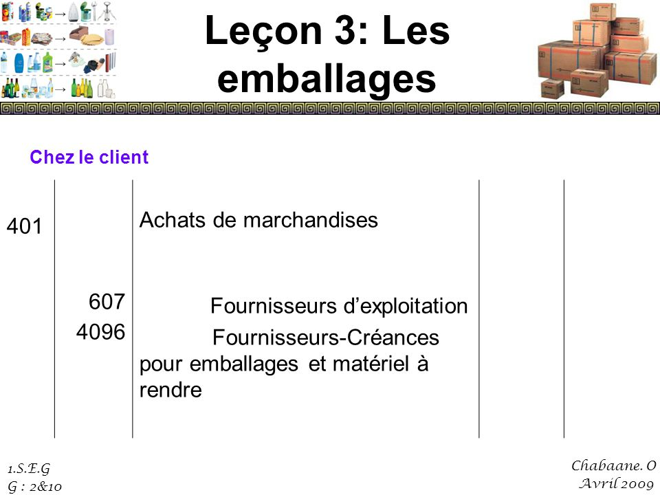 Leçon 3: Les emballages Achats de marchandises 607 4096