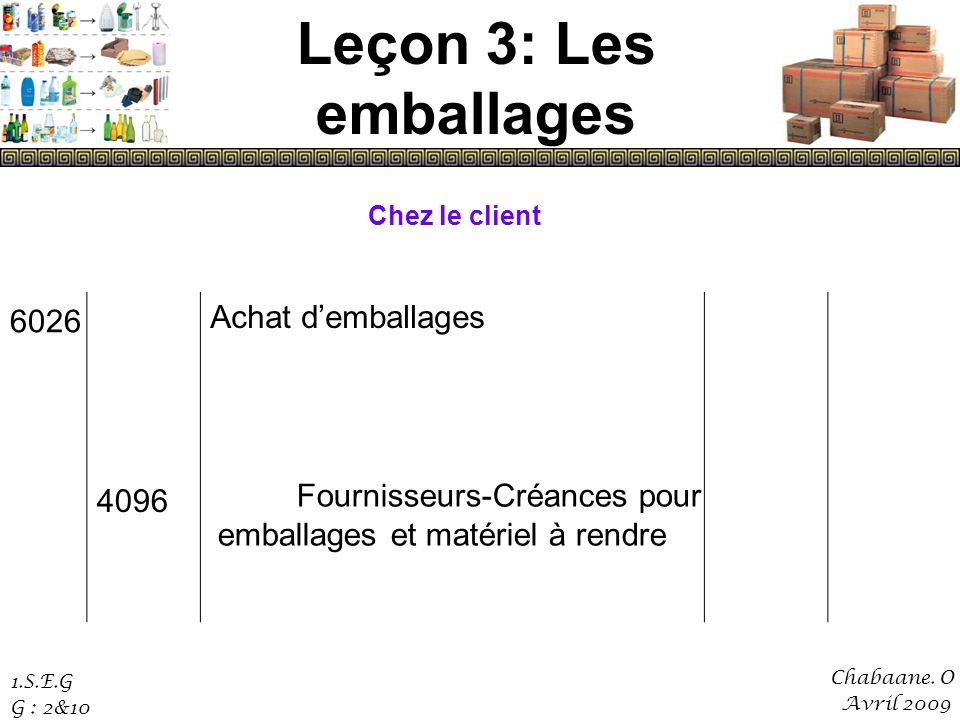 Leçon 3: Les emballages Achat d'emballages 4096 6026 Chez le client