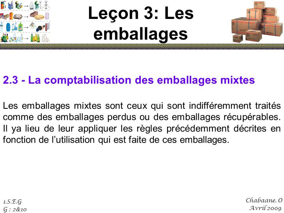 Leçon 3: Les emballages 2.3 - La comptabilisation des emballages mixtes.