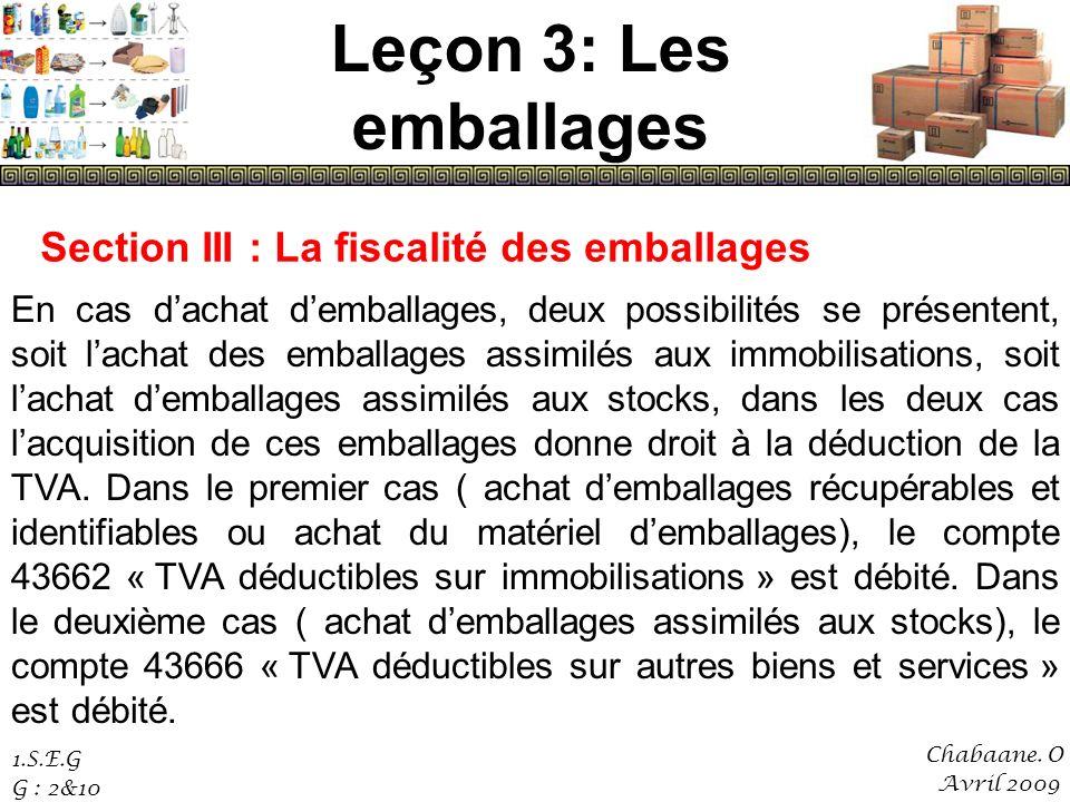 Leçon 3: Les emballages Section III : La fiscalité des emballages