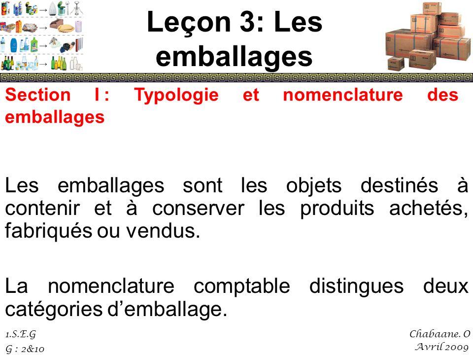 Leçon 3: Les emballagesSection I : Typologie et nomenclature des emballages.