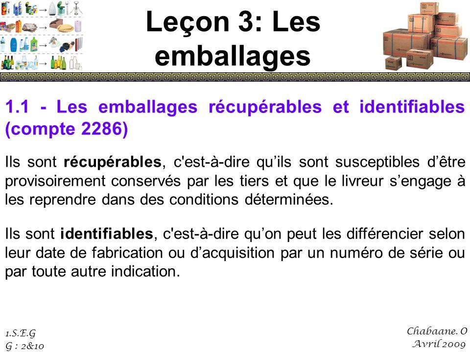 Leçon 3: Les emballages 1.1 - Les emballages récupérables et identifiables (compte 2286)