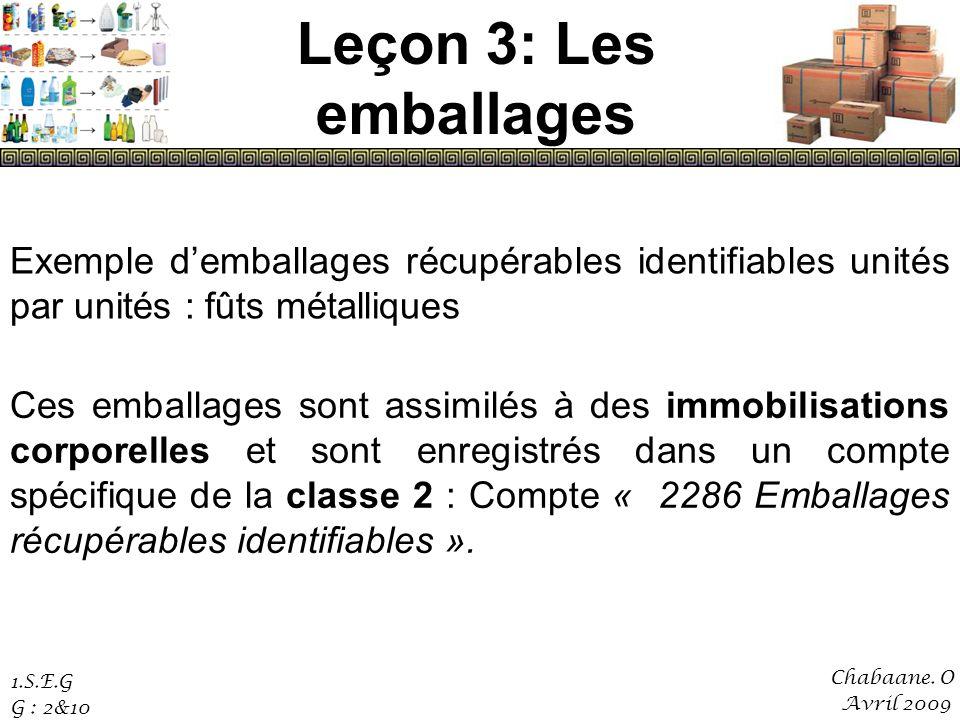 Leçon 3: Les emballages Exemple d'emballages récupérables identifiables unités par unités : fûts métalliques.