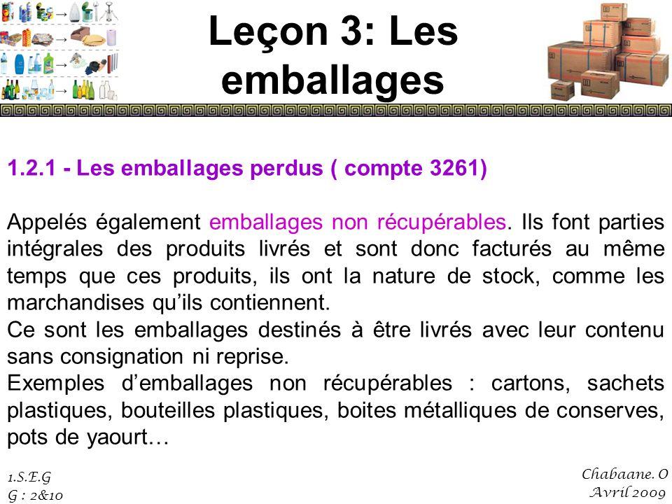 Leçon 3: Les emballages 1.2.1 - Les emballages perdus ( compte 3261)