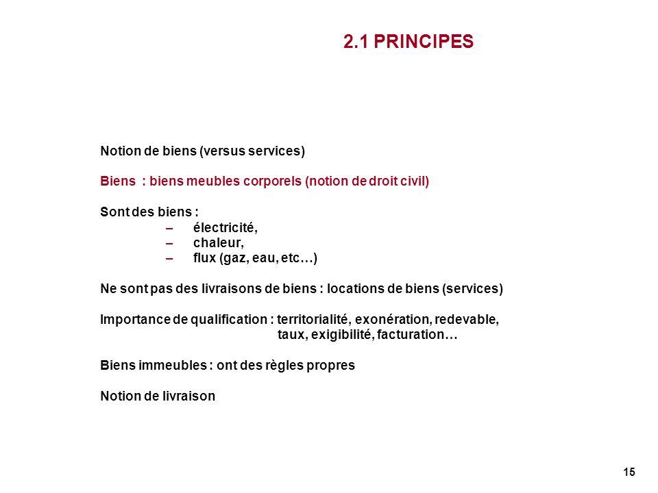 2.1 PRINCIPES Notion de biens (versus services)