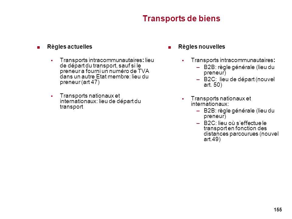 Transports de biens Règles actuelles