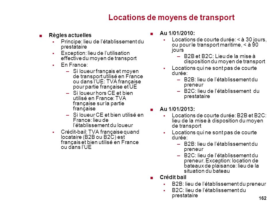 Locations de moyens de transport