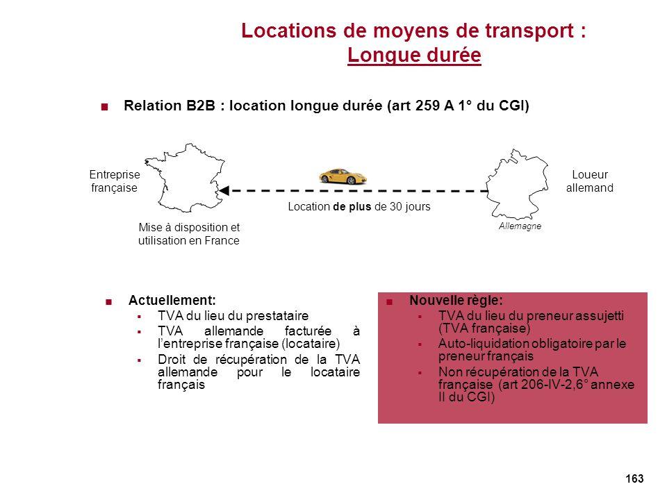 Locations de moyens de transport : Longue durée