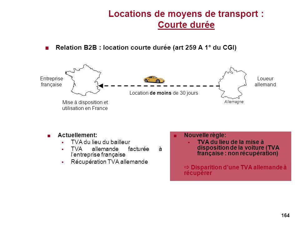 Locations de moyens de transport : Courte durée