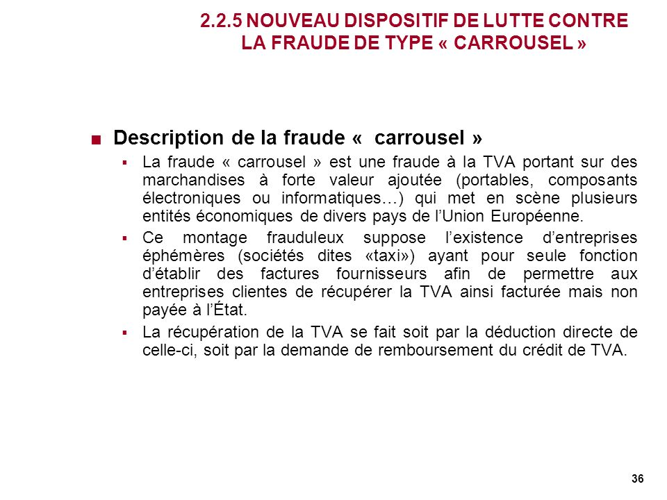 Description de la fraude « carrousel »