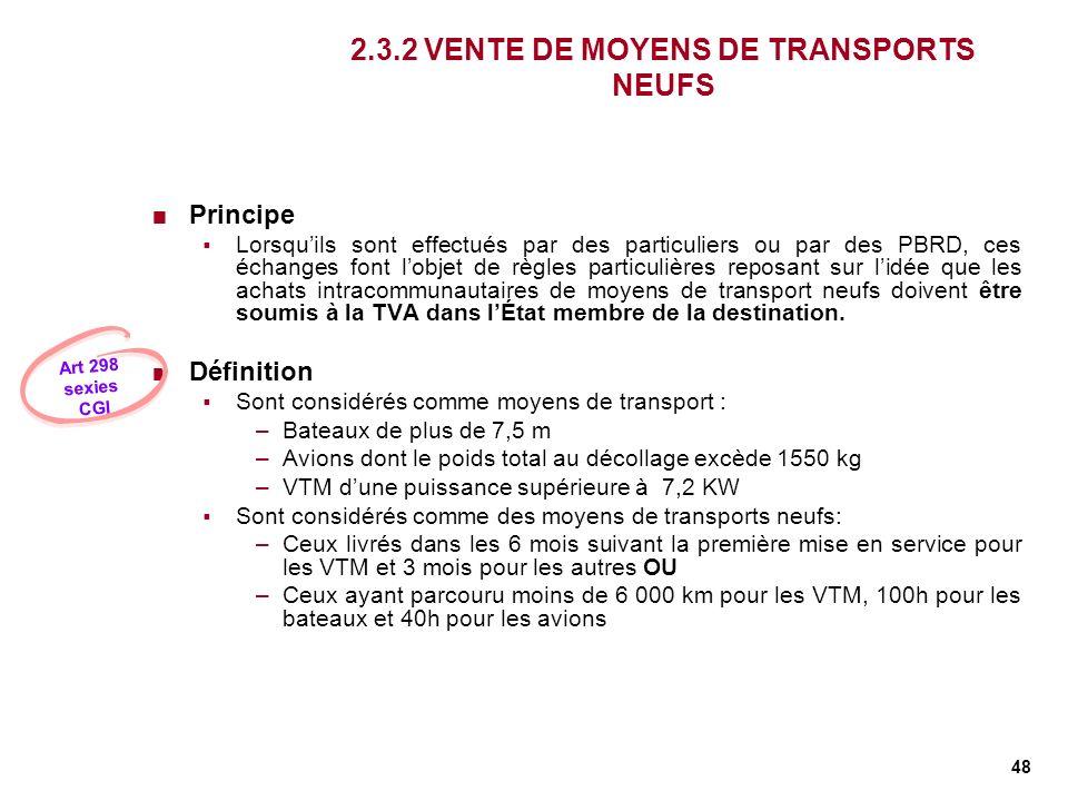 2.3.2 VENTE DE MOYENS DE TRANSPORTS NEUFS