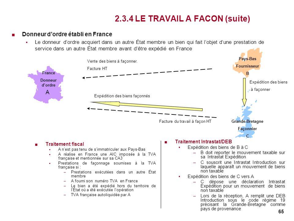 2.3.4 LE TRAVAIL A FACON (suite)