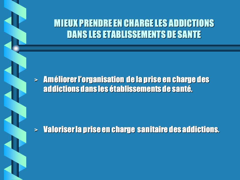 MIEUX PRENDRE EN CHARGE LES ADDICTIONS DANS LES ETABLISSEMENTS DE SANTE