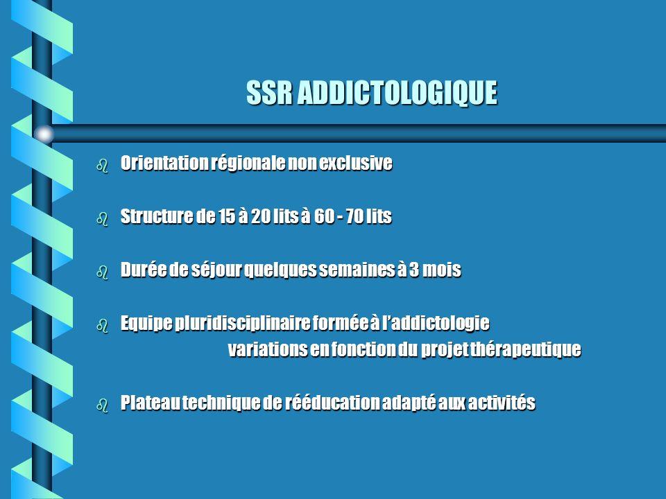 SSR ADDICTOLOGIQUE Orientation régionale non exclusive