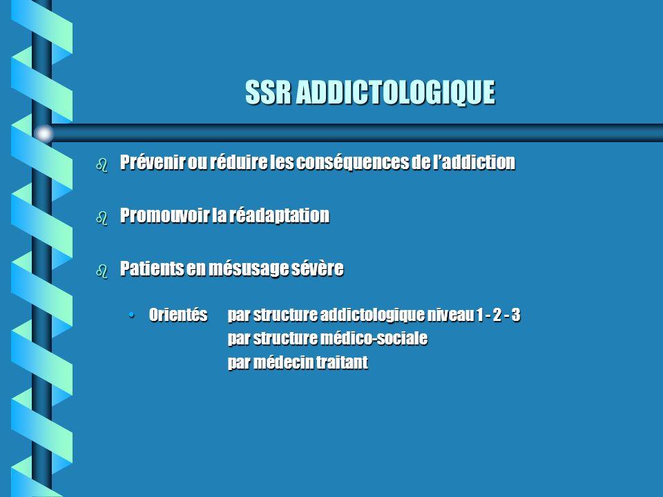 SSR ADDICTOLOGIQUE Prévenir ou réduire les conséquences de l'addiction