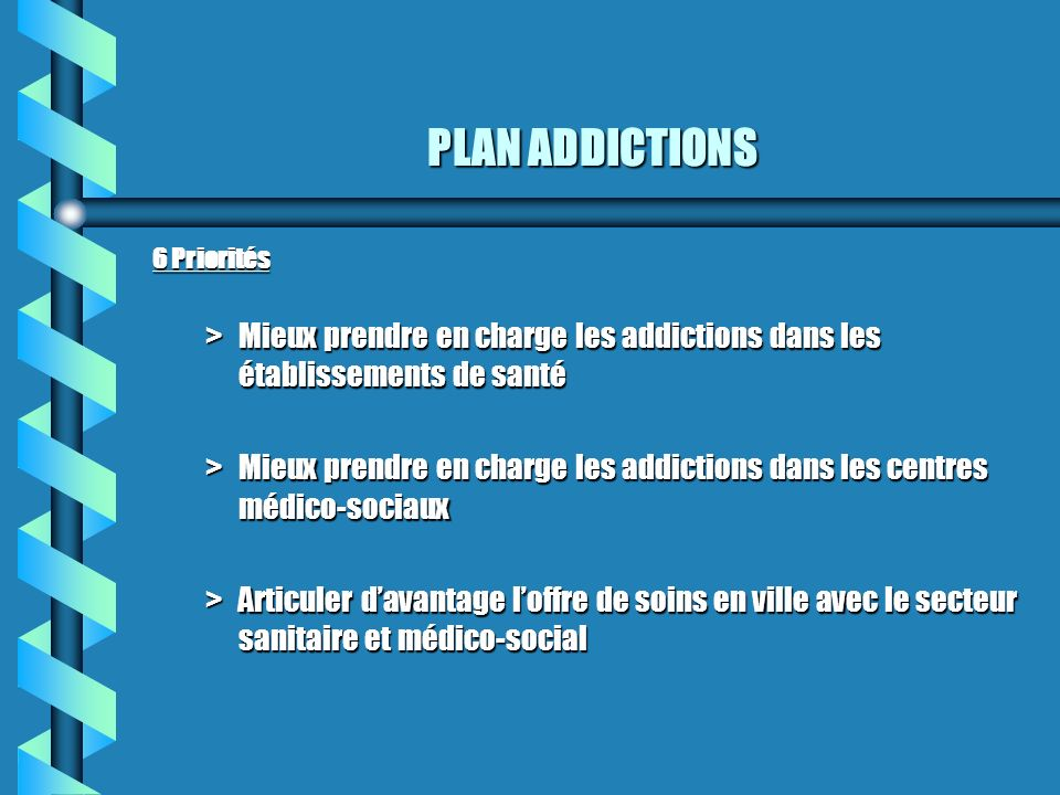 PLAN ADDICTIONS 6 Priorités. Mieux prendre en charge les addictions dans les établissements de santé.