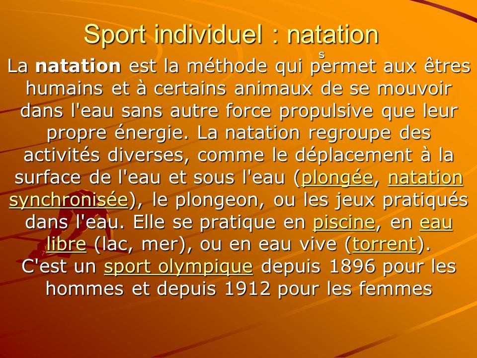 Sport individuel : natation