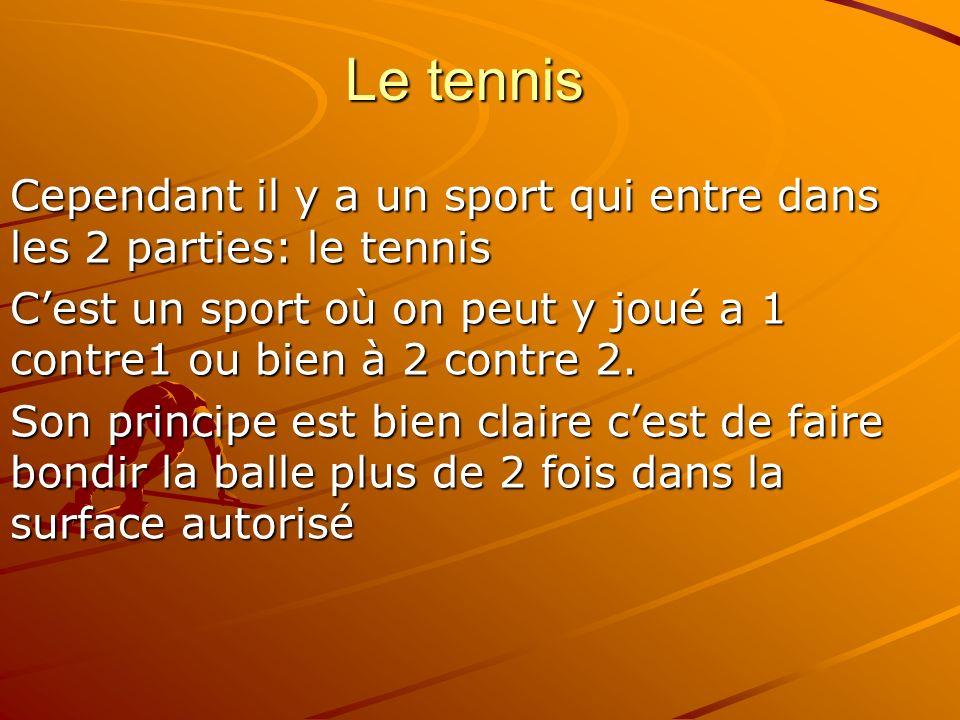 Le tennisCependant il y a un sport qui entre dans les 2 parties: le tennis. C'est un sport où on peut y joué a 1 contre1 ou bien à 2 contre 2.