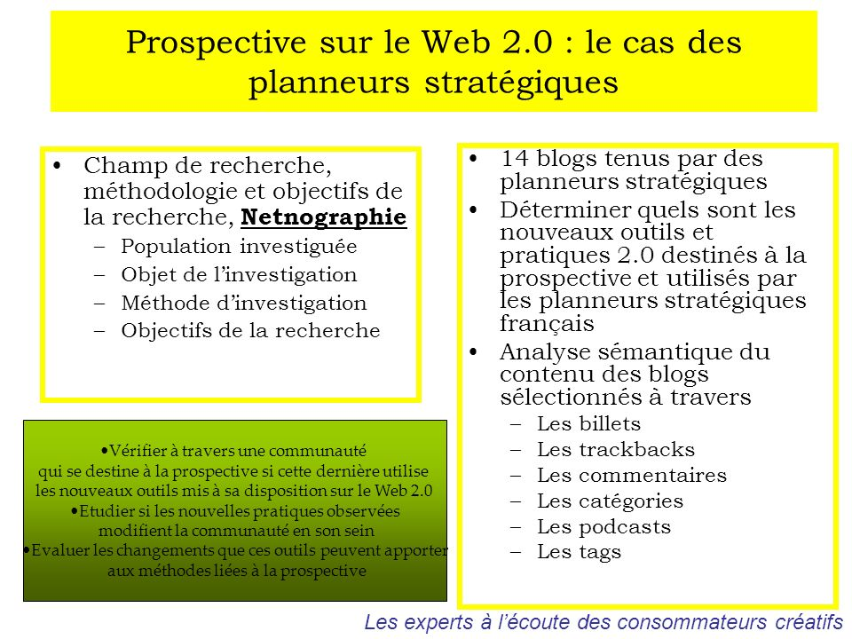 Prospective sur le Web 2.0 : le cas des planneurs stratégiques