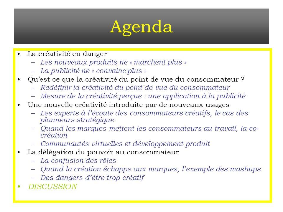 Agenda DISCUSSION La créativité en danger