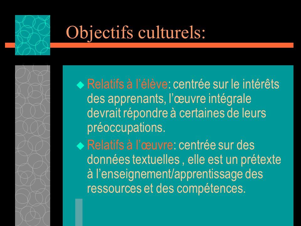 Objectifs culturels: